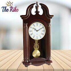 Grandfather Wall Clock Quartz Pendulum Wood Frame Melody Office Home Room Decor