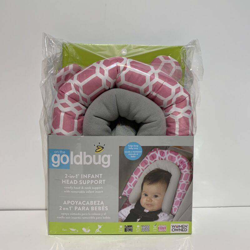 Goldbug 2-in-1 Infant Car Seat - Head Support Pink/White - New With Tag