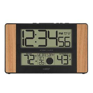 La Crosse Technology 513-1417 Atomic Digital Clock with Outdoor Temperature, Oak