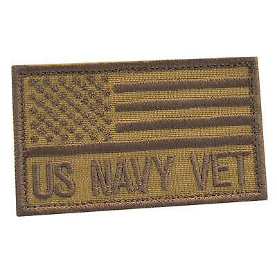 US Navy Veteran Vet tan coyote embroidered morale tactical USN cap patch