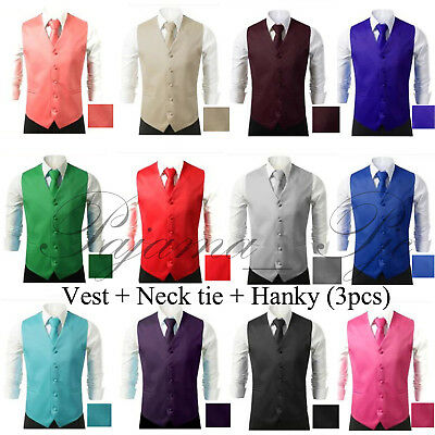 Men's Formal Waistcoat Dress Vest and Neck Tie Hankie Set Wedding Prom Casual