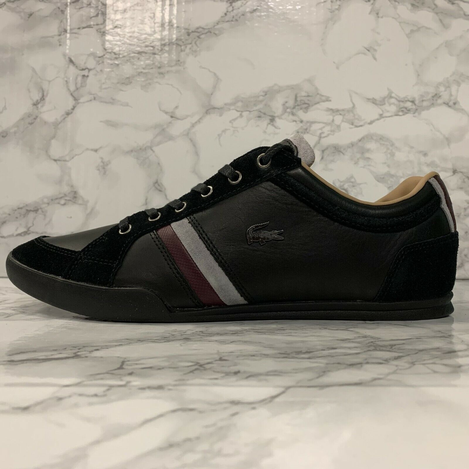 Lacoste Mens Lerond BL 1 Leather Lace Up Trainer White