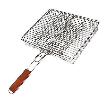Griff Grill (Grillkorb mit Holzgriff Edelstahlkorb 4 Fächer Gemüsekorb Grillgutwender *NEU)