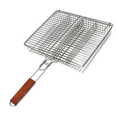 Grillkorb mit Holzgriff Edelstahlkorb 4 Fächer Gemüsekorb Grillgutwender *NEU