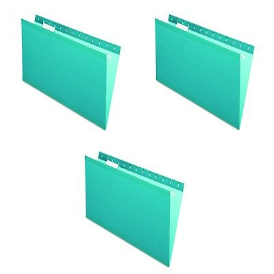 NEW Pendaflex Reinforced Hanging Folders Legal Size, Teal, FILE 1/5 Cut 3 COUNT