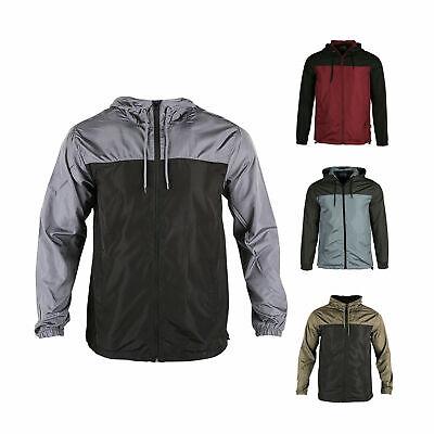 Men Hooded Water Resistant Lightweight Windbreaker Zipper Outdoor Sports Jacket