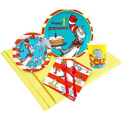 Dr. Seuss 1st - Birthday Party Supply Kit for 8 w/ Table Ware (Dr Seuss Party Supplies 1st Birthday)