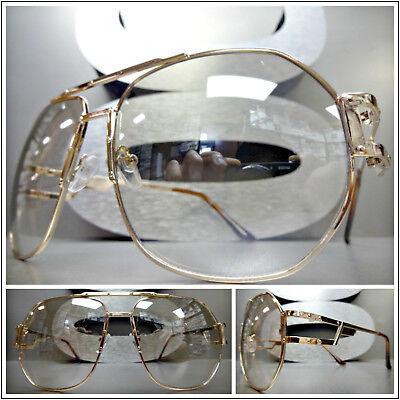 Men's OVERSIZED VINTAGE RETRO Style Clear Lens SUN GLASSES Rose Gold Metal (Mens Rose Gold Sunglasses)