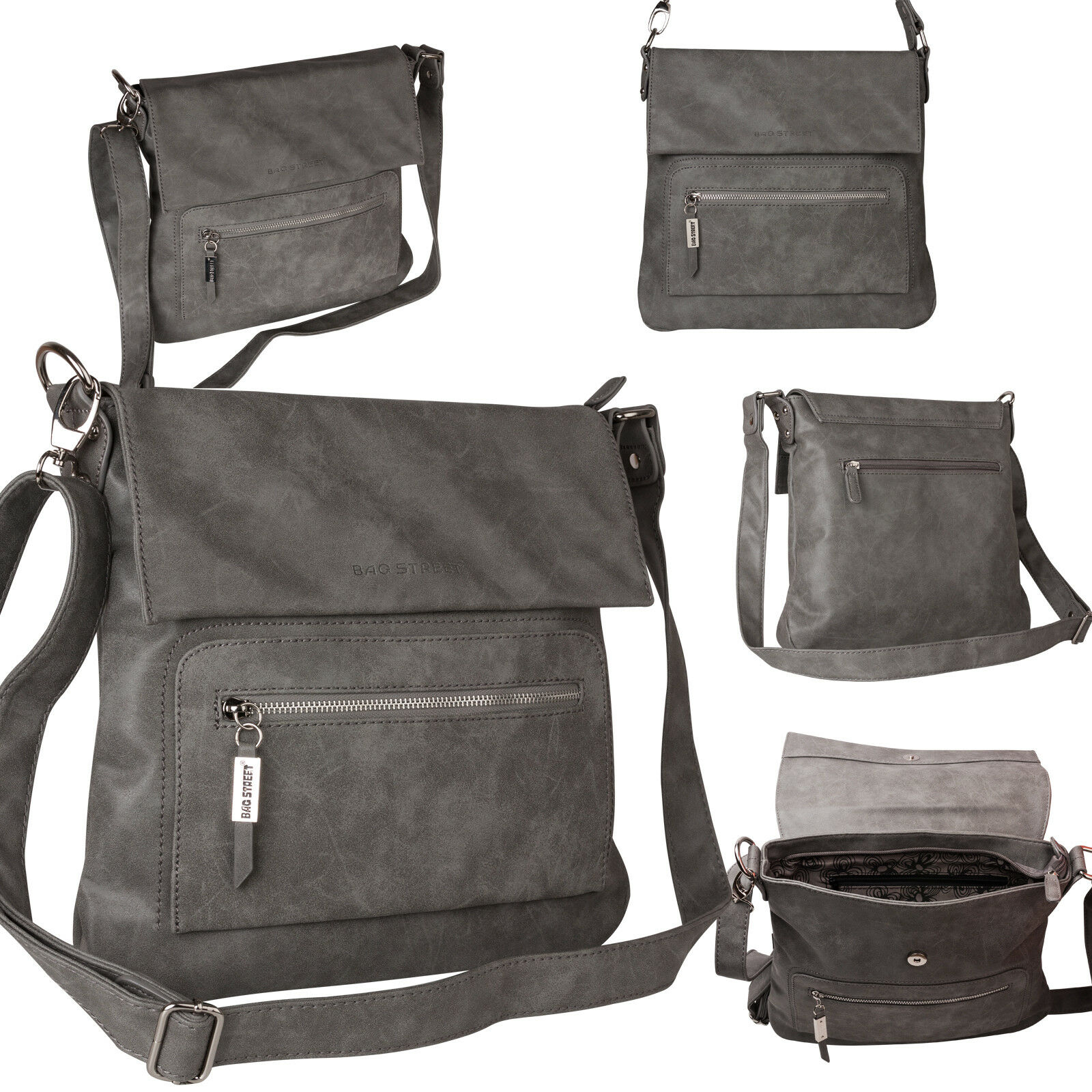 Bag Street Damentasche Umhängetasche Handtasche Schultertasche K2 T0103 Grau