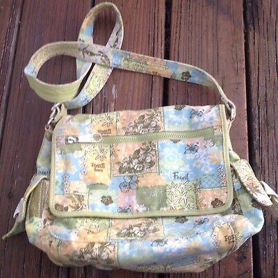 Floral Purse Bag (Fossil Floral Messenger Bag Green Blue Purse Hawaiian Handbag Tropic Tote Aloha)