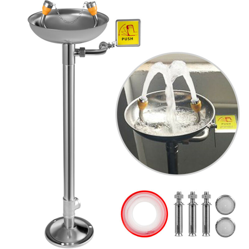 Emergency Eyewash Eye Wash Safety Pedestal Mounted Emergency Stainless Steel