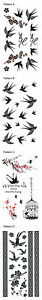 Brand-New-Assorted-Swallow-Bird-Cage-Temporary-Tattoo