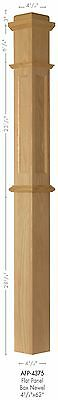 AFP-4375 Red Oak Actual Flat Panel Box Newel Post Red Oak Panel