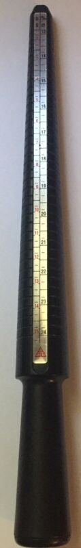 Black plastic Ring sizer mandrel finger stick, USA sizes 1-15, European 1-36