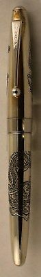ESTATE FIND!  Namiki Pilot Sterling Silver Fountain Pen w/ Engraved Dragon NICE!