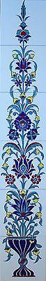 "Turkish Iznik Floral Pattern 48""x8"" Ceramic Tile Column Panel Mural"