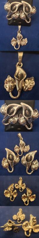 Vintage Sterling Silver Calla Lily Flower Post Studs Earrings Pendant Set er74