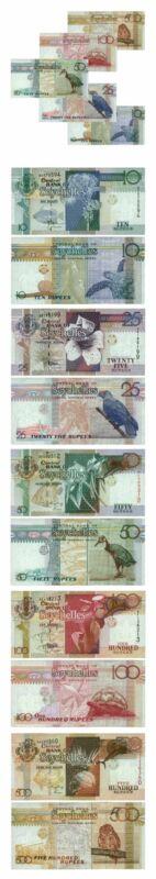 Seychelles Set: 10, 25, 50, 100 & 500 Rupees 1998/2005 Crisp Unc
