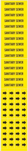 SANITARY SEWER adhesive Yellow Stickers Pipe Markers Arrows sewage BRADY 7251-3C
