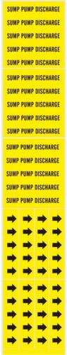 SUMP PUMP DISCHARGE Pipe Markers Adhesive Yellow stickers & Arrows BRADY 7280-3C
