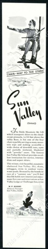 1942 Sun Valley ski area woman chair lift Toni Frissell photo vintage print ad