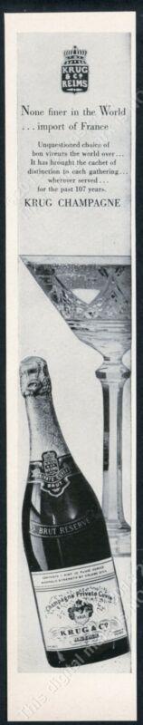 1962 Krug Brut Reserve champagne bottle photo vintage print ad