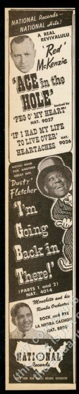 1947 Dusty Fletcher Machito Red McKenzie photo National Records trade print ad