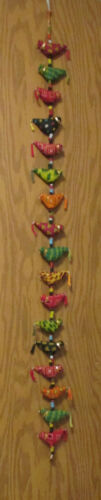 "Vintage 55"" Hanging String Of 17 Colorful Cloth Birds Hanging  Door Decoration"