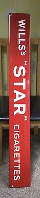ViNTAGE*WILLS STAR CIGARETTES*RAILWAY STATION ENAMEL SIGN.Overall Extremely VGC.