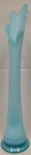 """Unknown TINY YEARS Dugan Diamond Northwood Blue Opalescent Glass 17"""" SWUNG VASE"""