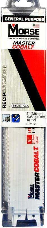 """MK MORSE Master Cobalt Reciprocating Saw Blade 9""""x3/4"""" 18 TPI RB918T50 (50 pack)"""