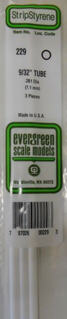 "Evergreen Strip Styrene 229 3 Pieces of 9/32"" TUBE."