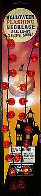 PUMPKIN Halloween Lighted Necklace-8 Flashing LED Orange Lights-3 - Halloween 3 Flashing Pumpkin