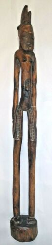 "Vintage 33.5"" Tall Hand Carved African Senufo Tribal Female Rhythm Pounder"