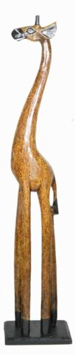 """HAND CARVED 32"""" AFRICAN GIRAFFE WOOD SCULPTURE STATUE JUNGLE TROPICAL HOME DECO"""