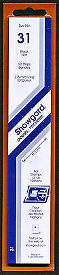 Showgard Stamp Mount Size 31/215 mm - BLACK (Pack of 22) (31x215  31mm)  STRIP