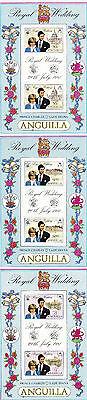 ANGUILLA 1981 ROYAL WEDDING SET OF ALL 3 SOUVENIR SHEETS MNH