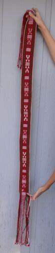 """Vintage Hopi Indian Handwoven Sash Belt - Red White Green - 3"""" Wide, 75"""" Long"""