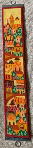 Vintage Cityscape Needlepoint Fiber Art Wall Hanging Tapestry Mid Century Mod