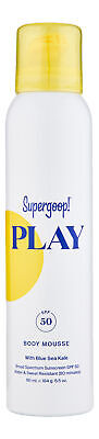 Supergoop Play Body Mousse SPF 50 with Blue Sea Kale 6.5 oz 181 ml. Sunscreen