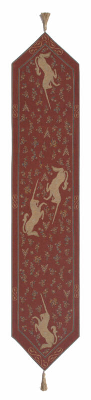 Licorne II Large French Unicorn Tapestry Jacquard Table Runner 70x14""
