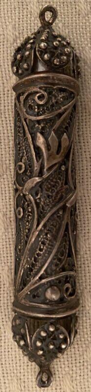 Vintage .925 Sterling Silver Filigree Mezuzah with Scroll Judaica Jewish