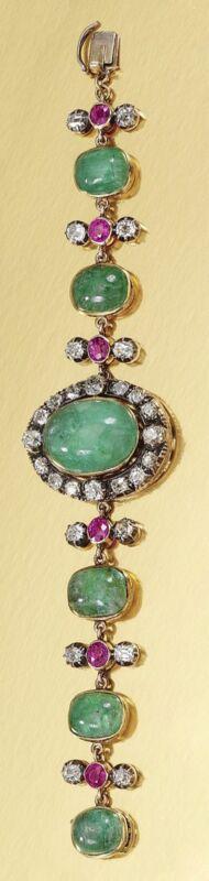 3.90ct Rose Cut Diamond Antique Look 925 Silver Emerald Ruby Gemstone Bracelet