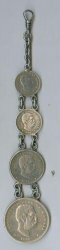 Nice 1883 Hawaii Half Dollar, Quarter & 2 Dimes Watch FOB, Coins VF-XF