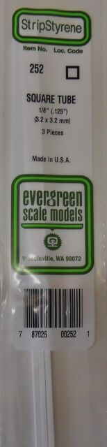 "Evergreen Strip Styrene 252. 3 Pieces.1/8"" Square Tube"