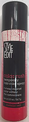 STYLE EDIT COLOR RUSH TEMPORARY HAIR COLOR SPRAY METALLIC RED 2oz