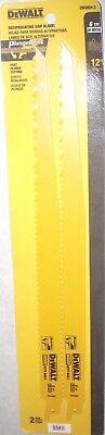 Dewalt Dw4804-2 Reciprocating Saw Blades 12 X 6 Tpi Wood W Nails Plunge Tip 2pk