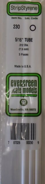 "Evergreen Strip Styrene 230 3 Pieces of 5/16"" TUBE."