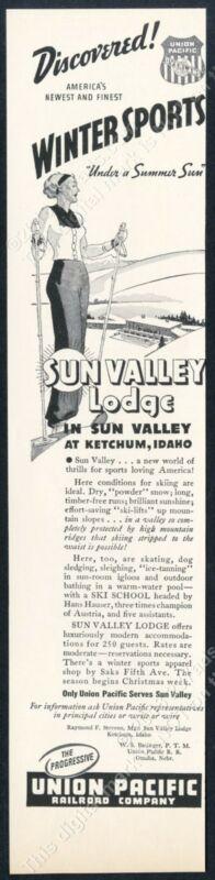 1936 Sun Valley ski area woman skiing lodge art UPRR vintage print ad