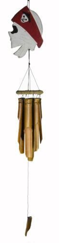 PIRATE SKELETON WIND CHIME CARVED BAMBOO WOOD SKULL TIKI GARDEN HOME POOL PATIO